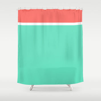 Coral White Teal Stripe Shower Curtain By From Society6