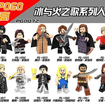 POGO 12PCS PG8072 Game of Thrones Jaime Lannister Petyr Baelish Cersei Ice and Fire Super Heroes Building Blocks Kids Gift Toys