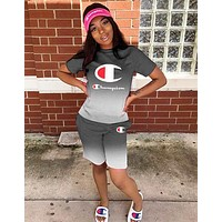 Champion Hot Sale Woman Casual Gradient Print Short Sleeve Top Shorts Set Two Piece Sportswear Grey