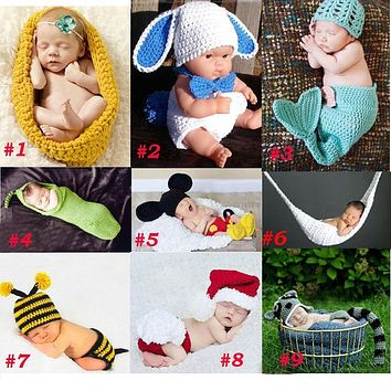 Baby Newborn Photography Props Costume Toddler Animal Beanie with Diaper Cover Cocoon Handmade Knitted Hat 0-12M SG041