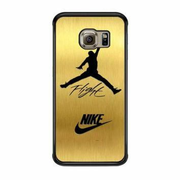 CREYUG7 Nike Jordan Flight Jump In Gold Texture Samsung Galaxy S6 Edge Case