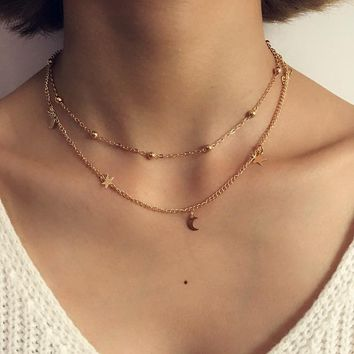 Simple Boho Gold Silver Color Star Moon Bead Multilayer Chockers Necklace For Women Bijou Necklaces Pendants Layering Chokers