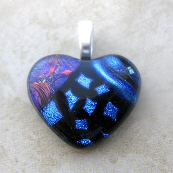 Lovely Fused Glass Heart Pendant, Slide Jewelry - One of a Kind - Large Silver Bail - Remember Me  by mysassyglass