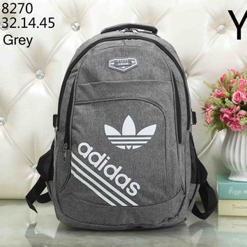ADIDAS Clover classic big logo men and women retro style backpack fashion travel bag Grey