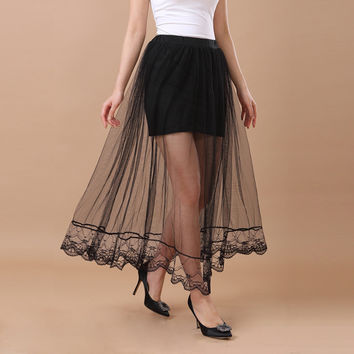 European Skirts Women Runway Long Skirt Sheer Tulle Skirt Elastic Waist Lining Midi Maxi Skirt Faldas BlackWhite SM6
