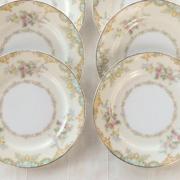 Vintage Noritake Jasmine Bread and Butter Plates, Set of 6, Tea Party, Cottage Chic, Wedding, Small Plates, Replacement China