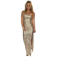 Gold Sequin One Shoulder Maxi Dress