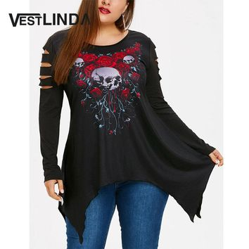 VESTLINDA Skull Rose Print Plus Size Ripped Handkerchief T-shirt Gothic Style Women Top Autumn O Neck Long Sleeve T-shirts Women