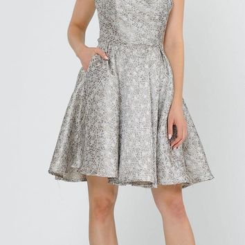 Cut-Out Back Homecoming Short Dress Champagne with Pockets