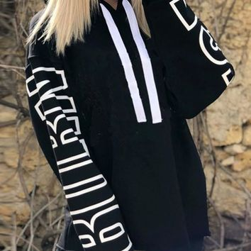 New Black Letter Print Hooded Long Sleeve Casual Sweatshirt