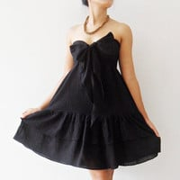 Princess Sweet Black  Mini Dress cotton