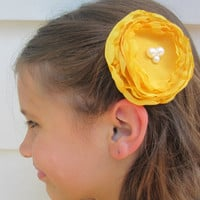 Pretty yellow chiffon hair flower accessory hair clip adult child hair flower rustic hair accessory