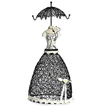 Cade Dignified Princess Mannequin Jewelry Earring Necklace Stand Display-6 Hooks (White&black)