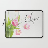 Pink tulips Laptop Sleeve by Sylvia Cook Photography
