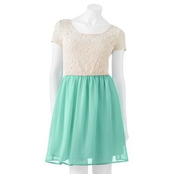 Speechless Lace Chiffon Dress - Juniors