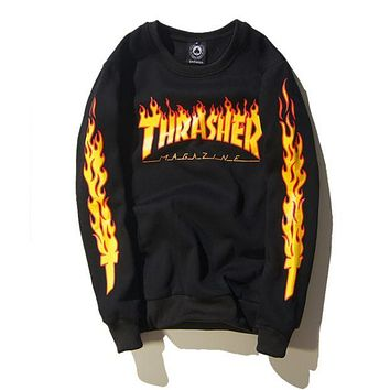 Thrasher new autumn and winter men and women with the same flame jacket plus velvet sweater F