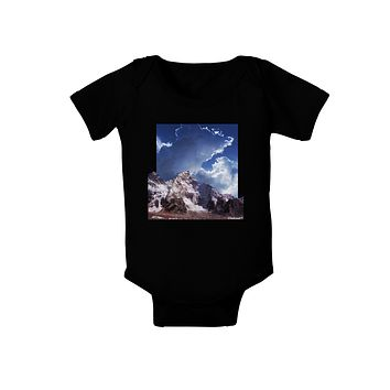 Mountain Pop Out Baby Bodysuit Dark by TooLoud