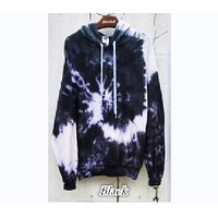 Autumn new European and American women color digital printing pocket hooded leisure sets of sweater Black