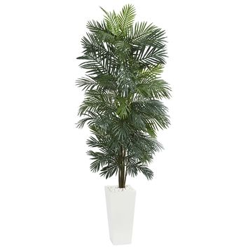 Artificial Tree -7 Foot Areca Tree with White Tower Planter