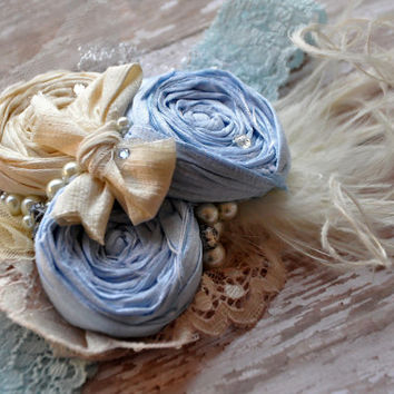 Dancing in the clouds boutique couture headband-blue and ivory-photo prop-baby shower gift-newborn to adult-family portraits-special events