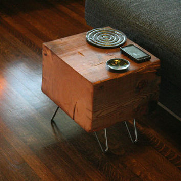 koan mini coffee table with hairpin legs - reclaimed old growth, modern industrial - deep forest raw beauty