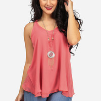 Coral Chiffon Layered Top with Necklace