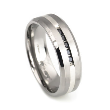 Sterling silver Diamond cool titanium ring