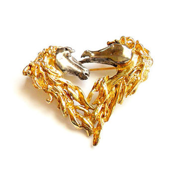 Vintage Horse Brooch - Heart Shaped Horses - Gold Silver Tone Plated - Equine Equestrian - Horse Lovers - Broach Pin
