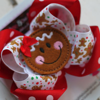 Christmas Bow -- Christmas Cookie -- gingerbread and red polka dots with sweet gingerbread center