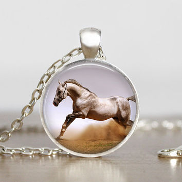 white horse running pendant, white horse necklace, white horse jewelry, horse lovers, animal lovers, horse photo pendants, horse art jewelry