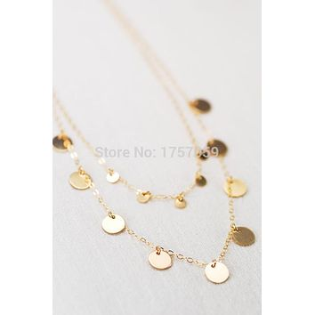 Gold Layered Coin Necklace, Ethnic Jewelry, Moroccan Jewelry, Gypsy Necklace, bohemian necklace.