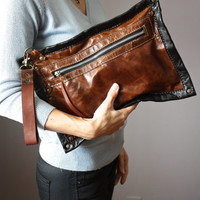 Cowhide clutch , hair on hide clutch, Rustic leather clutch, distressed leather bag, rugged bag, fur bag,  Black