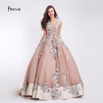 Finove Flowers Appliques Prom Dresses Sexy V-Neck 2017 New Styles Lace Up Back Elegant Floor Length Ball Gown Dresses for Women
