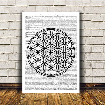 Sacred Geometry art Flower of life print Mandala poster Wall decor RTA75