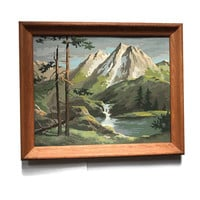 Vintage Paint by Number Mountain Country Scene River Mountains Waterfalls Landscape with a Wood Frame PBN  Framed Home Decor