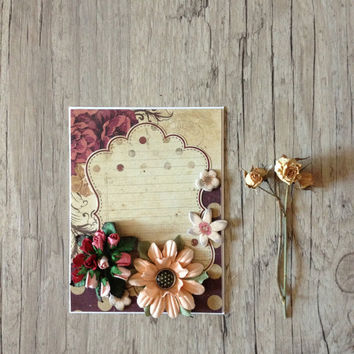 Crafted greeting card - post card - scrapbooking handmade - roses flowers - write your words - beige grey rustic red ivory pastel