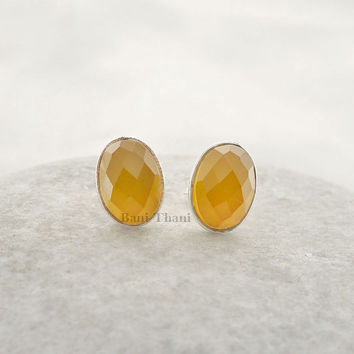 Yellow Chalcedony 7x10mm Oval Faceted 925 Sterling Silver Stud Earring - #1627