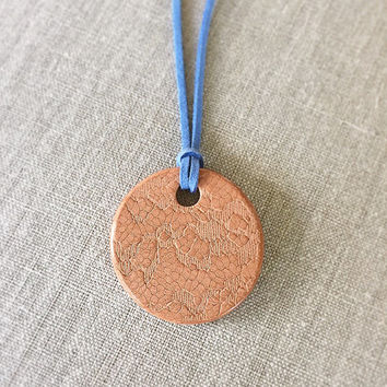 Snakeskin Pattern Terracotta Diffuser Necklace - Essential Oils - Faux Suede Cord unglazed Terra Cotta Clay Pendant Reptile print scales
