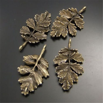 02377 Antiqued Bronze Tone Alloy Jewel Retro 3D Natural Leaf Pendant Charms Crafts Jewelry Accessory 10PCS