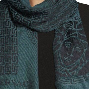 DCCK2JE Gianni Versace Black Maze scarf in signature Greek Key pattern ~ Teal/Nero