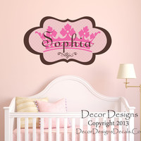 Girls Princess Name Wall Decal- by Decor Designs Decals, Princess Crown Personalized Decal Girls Nursery Bedroom Home Decor Princess Decal Crown Wall Decal Girls X47