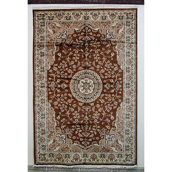 Oriental Karachi Pakistani Silk and Wool Oriental Rug, Brown/Mossy Green