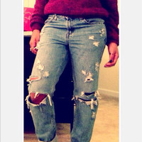 """Boyfriend ripped distressed """"The Basics"""" jeans"""
