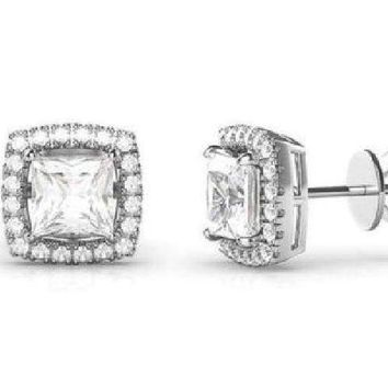 0.80Ct Diamond Created Square Halo Stud Earrings White Gold Plated
