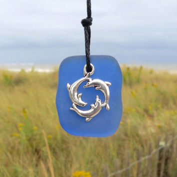 Cobalt Blue Sea Glass Dolphins Necklace by WaveofLife