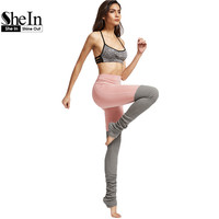 SheIn Leggings Women Workout Clothes for Women Grey and Pink Color Block Contrast Wide Waistband Leg Warmer Leggings