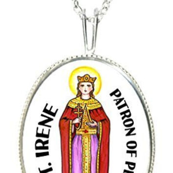"St Irene Patron of Peace 925 Sterling Silver 1"" Pendant & 20"" Chain Necklace"