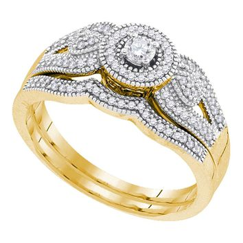 10k Yellow Gold Womens Round Diamond Bridal Wedding Engagement Ring Band Set 1/3 Cttw