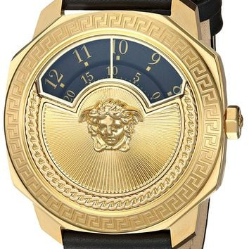 Versace Women's 'Dylos Icon' Swiss Quartz Stainless Steel and Leather Casual Watch, Color:Black (Model: VQU020015)