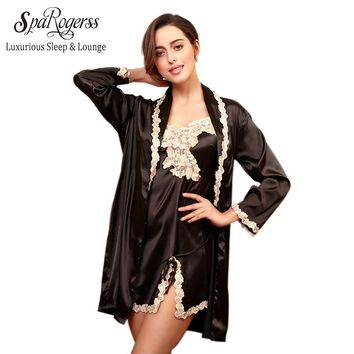 Luxurious Women New Robe Gown Set Summer Ladies Lace Silky Bath Robes Gown 2 Pcs Suit Female Home Clothing